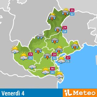 Clicca per selezionare il meteo nel Veneto