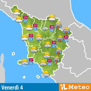 Le previsioni meteo in Toscana