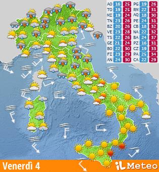 Meteo e previsioni del tempo fornite dal portale www.ilmeteo.it - ©ilMeteo.it