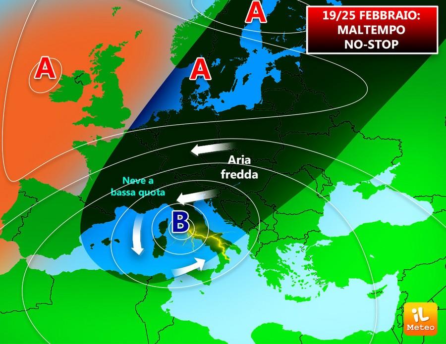 19-25 Febbraio, Italia nel maltempo