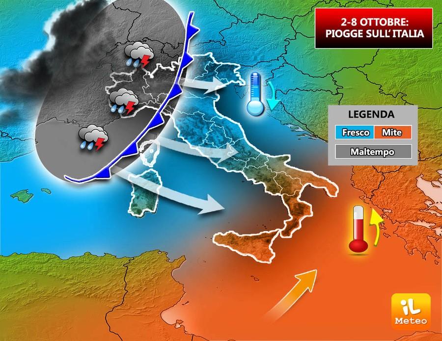 Piogge attese dal 2 all'8 ottobre, calo termico