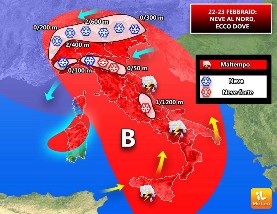 Precipitazioni previste per il 22 e 23 Febbraio