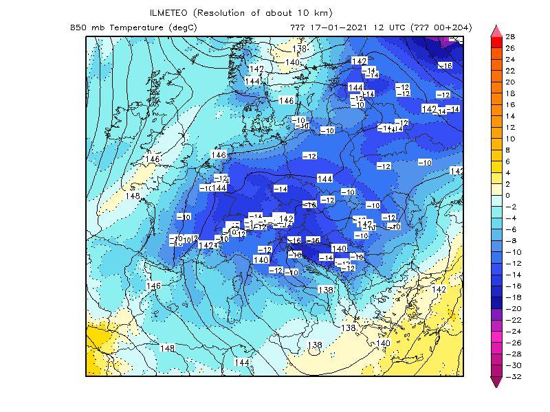 Ultima mappa elaborata dal Centro Europeo per il 17 Gennaio 2021, temperature 850hPa