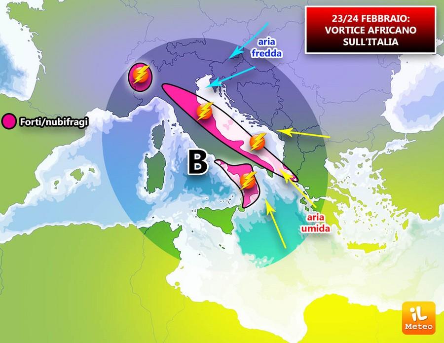 Minacciosa bassa pressione in arrivo al Sud e poi verso il Centro Italia