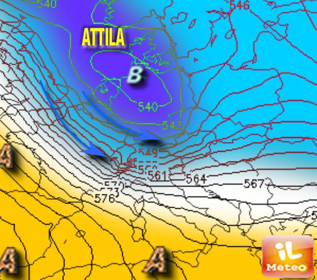 METEO SERA/NOTTE: Attila agguanta le Alpi, neve nella notte...!