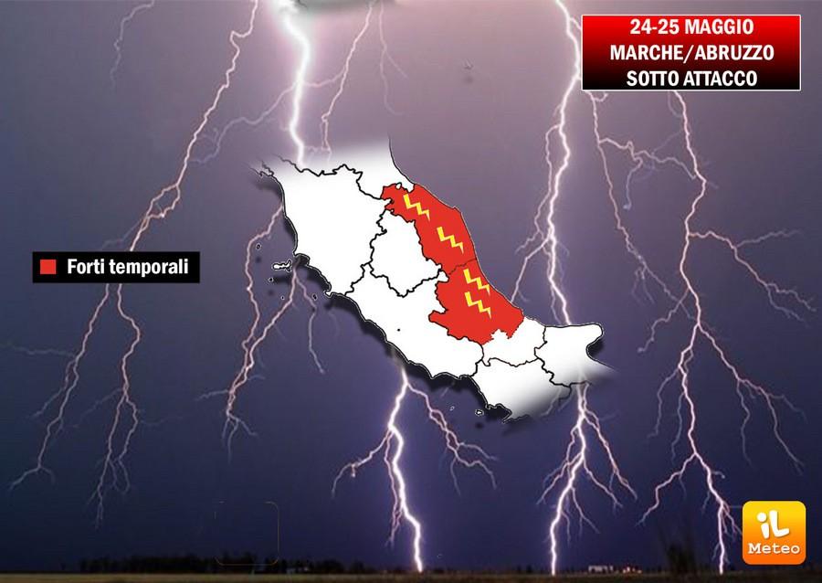 Nubifragi attesi sul Pescarese e temporali anche forti su regioni adriatiche
