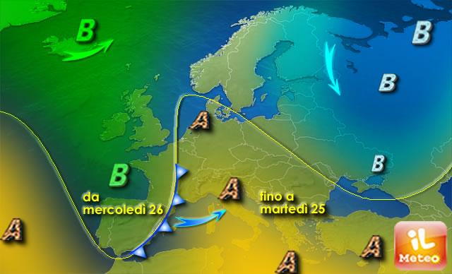 METEO ITALIA: altri tre giorni di alta pressione
