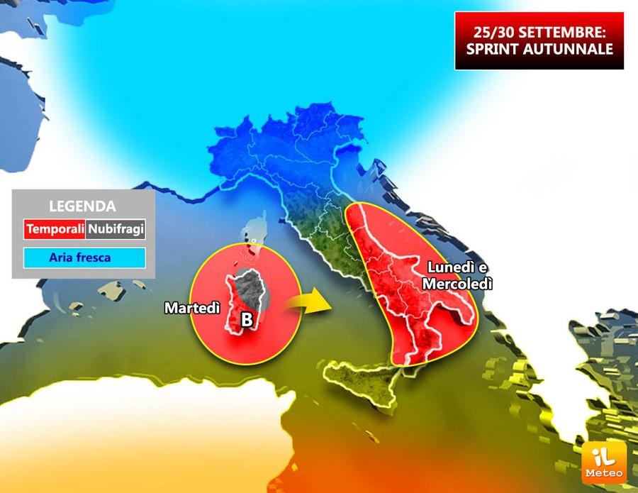 Settimana di piogge sull'Italia, ecco dove
