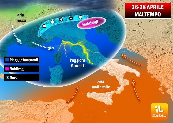 Fase di maltempo diffusoal Centro-Nord