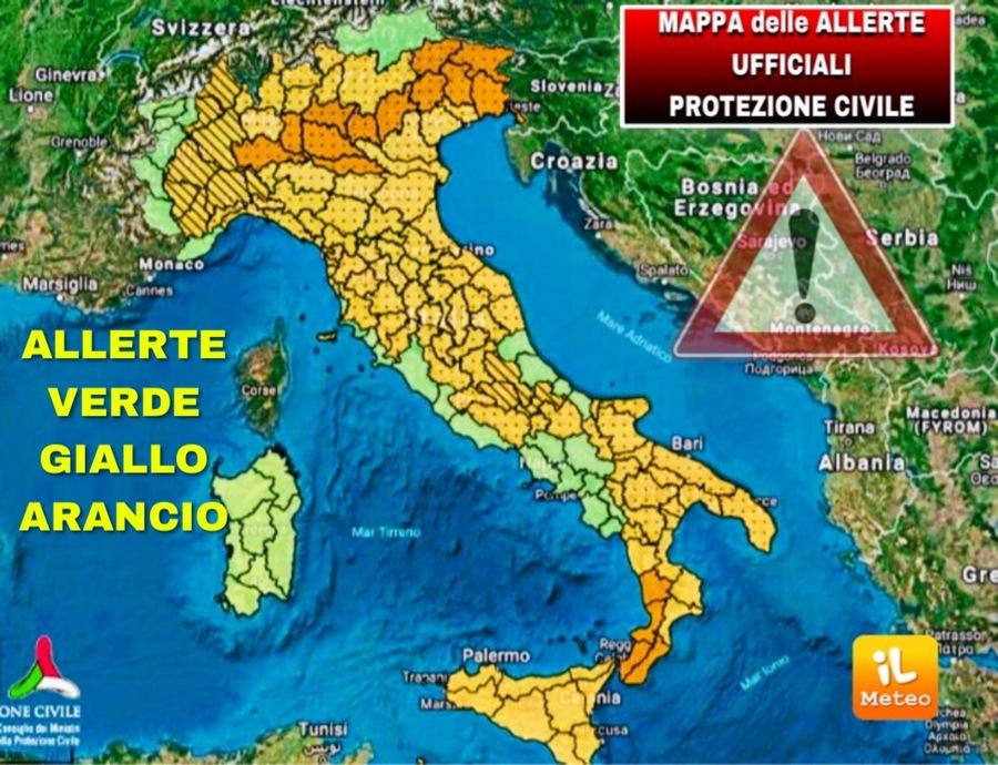 Meteo Italia Cartina.Meteo Allerta Meteo Urgente Mappa Ufficiale Aggiornata Della Protezione Civile Ilmeteo It