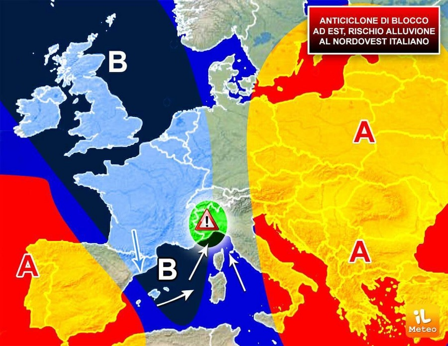 Anticiclone di blocco ad Est, rischio alluvione sul Nordovest italiano