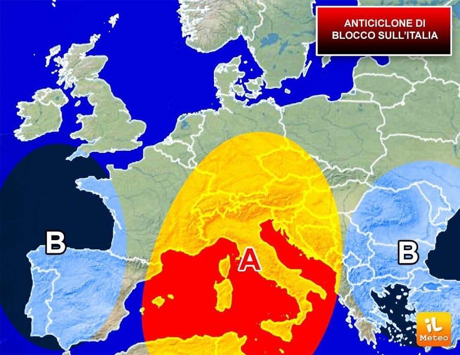Anticiclone di blocco sull'Italia