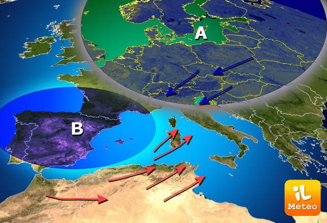 Le perturbazioni atlantiche interagiranno con l'aria fredda orientale