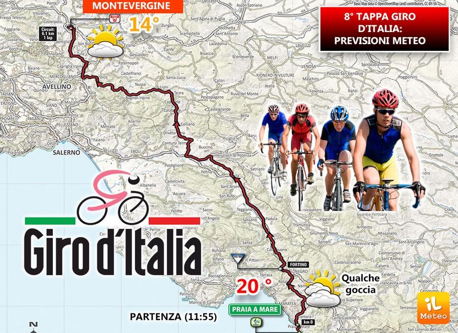 Percorso tappa 8 del Giro d'Italia 2018 da Praia a Mare a Montevergine