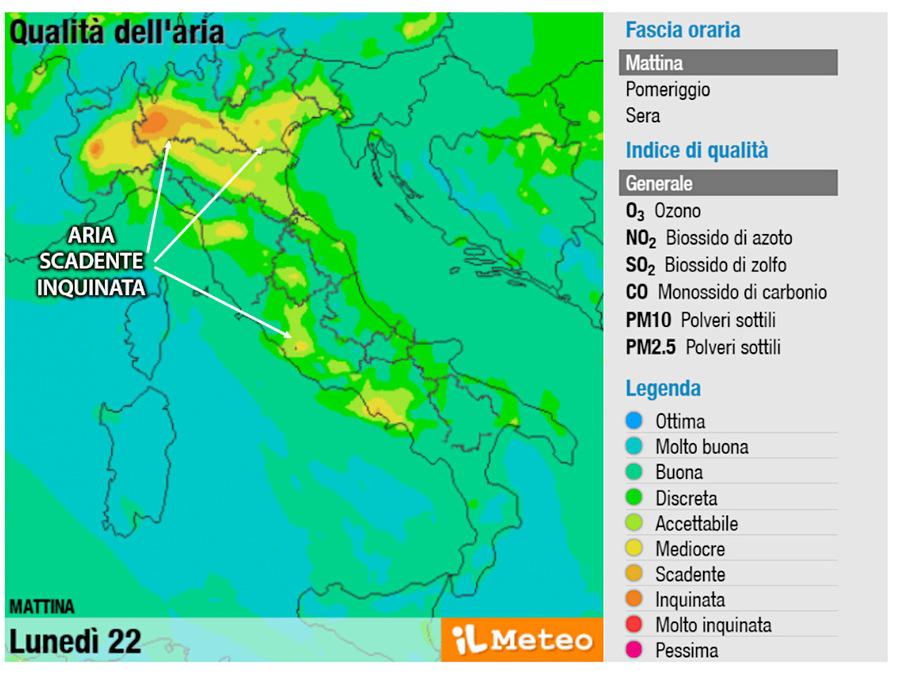 Qualità dell'aria scadente in tanti settori del Nord Italia