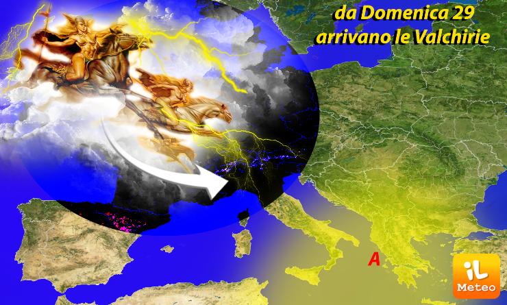 Cavalcano con le Valchirie, i temporali previsti domenica 29 al Nord