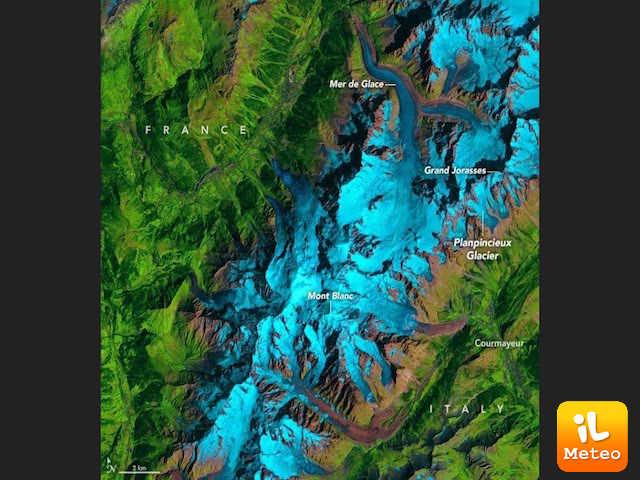 La cartina illustra la posizione del ghiacciaio del Planpincieux