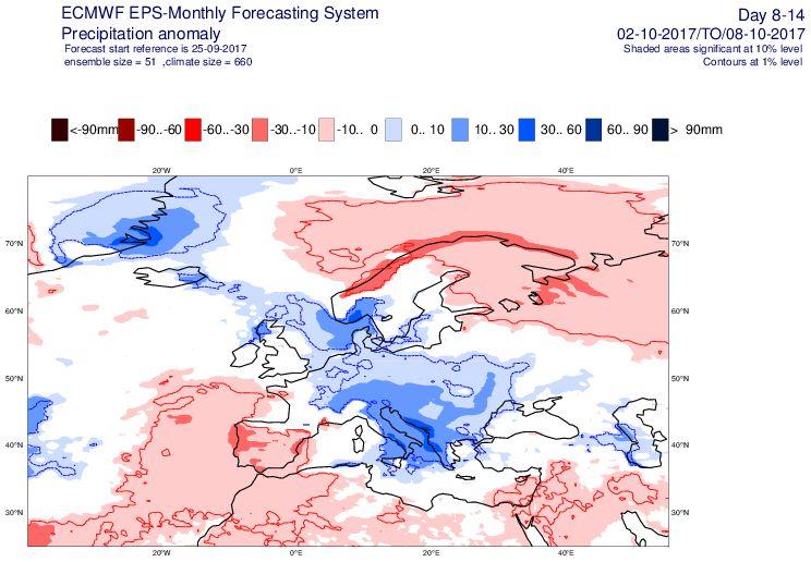 Mappa ECMWF:piogge previste nel periodo 2/8 Ottobre