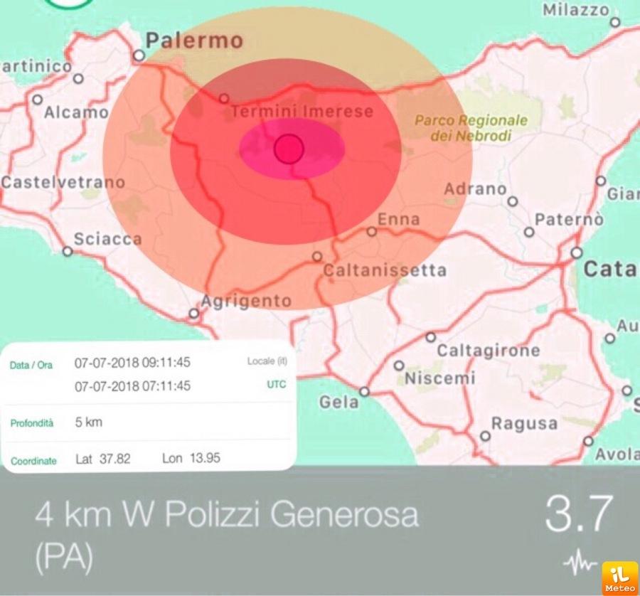 Scossa Di Terremoto Registrata In Sicilia Vicino A Palermo Polizzi Generosa PA
