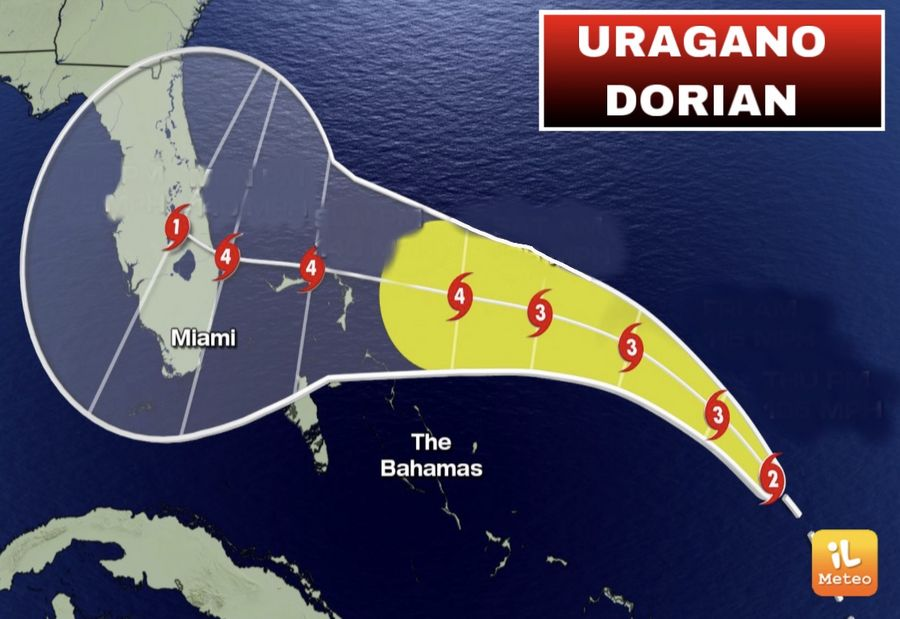 Uragano Dorian categoria 4 verso Bahamas e Florida
