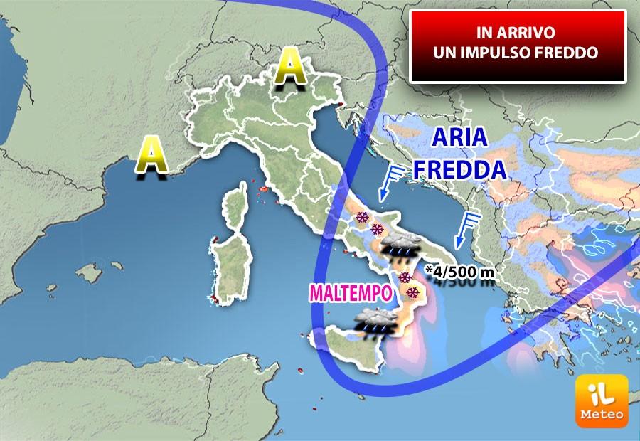 Impulso freddo al Sud con temporali e nevicate fino a quote collinari in Calabria.