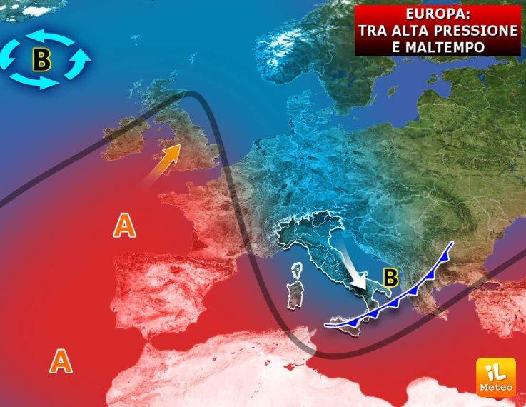 Europa terreno di conquista, tra anticiclone e maltempo