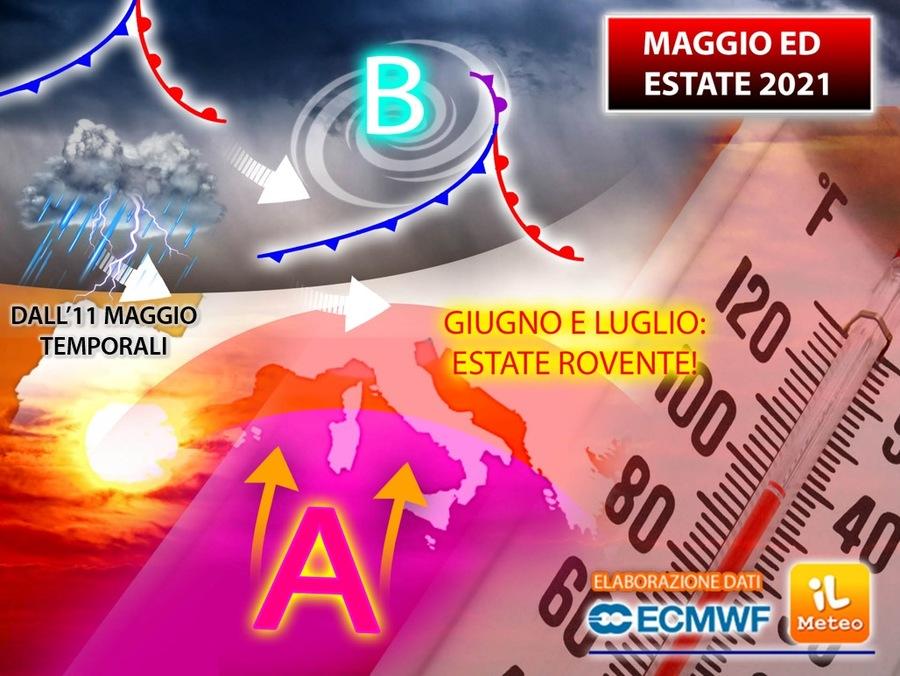 Maggio: lotta tra temporali e sole. Da giugno però scoppia l'estate rovente