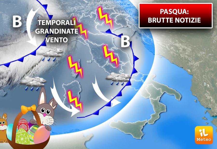 Brutte notizie in vista delle festività di PASQUA. In arrivo temporali, grandine e vento