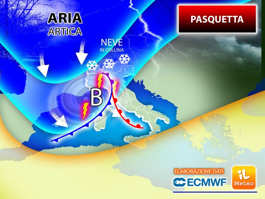 In arrivo aria Artica a Pasquetta: tornano temporali e anche la neve fino in collina