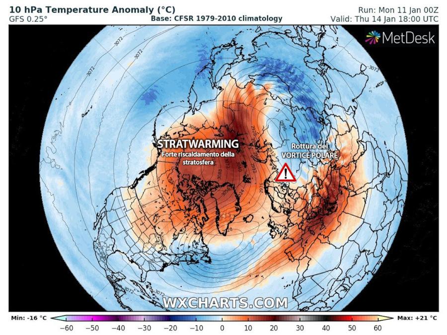 Stratwarming: riscaldamento anomalo e inaspettato della stratosfera sopra il Polo Nord