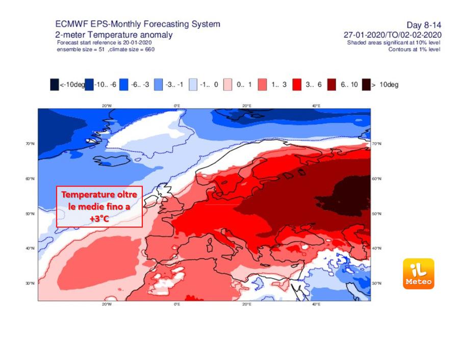 Anomalie di temperature fino a 3°C rispetto alle medie nel corso della prossima settimana