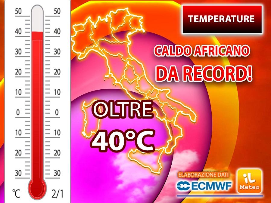 CALDO RECORD nei prossimi giorni con punte oltre i 40°C