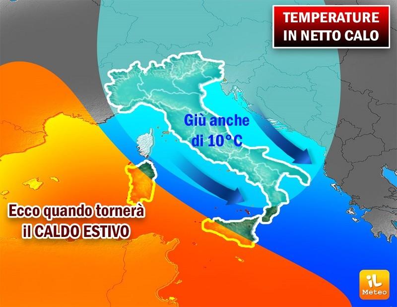 Temperature in netto calo di 10°C