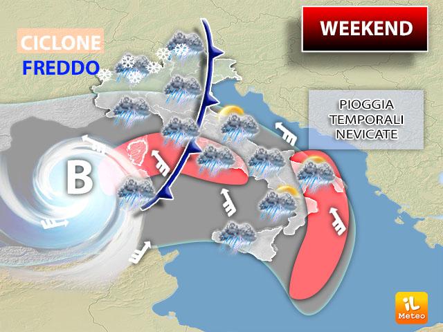 Weekend: ciclone freddo sull'Italia con tante piogge, temporali e addirittura nevicate a bassa quota