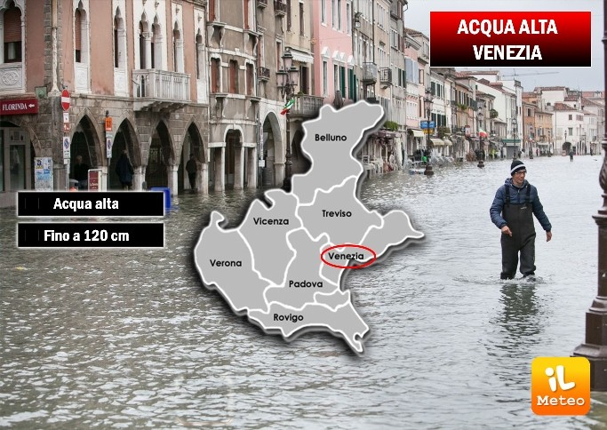 Arriva l'acqua alta a Venezia