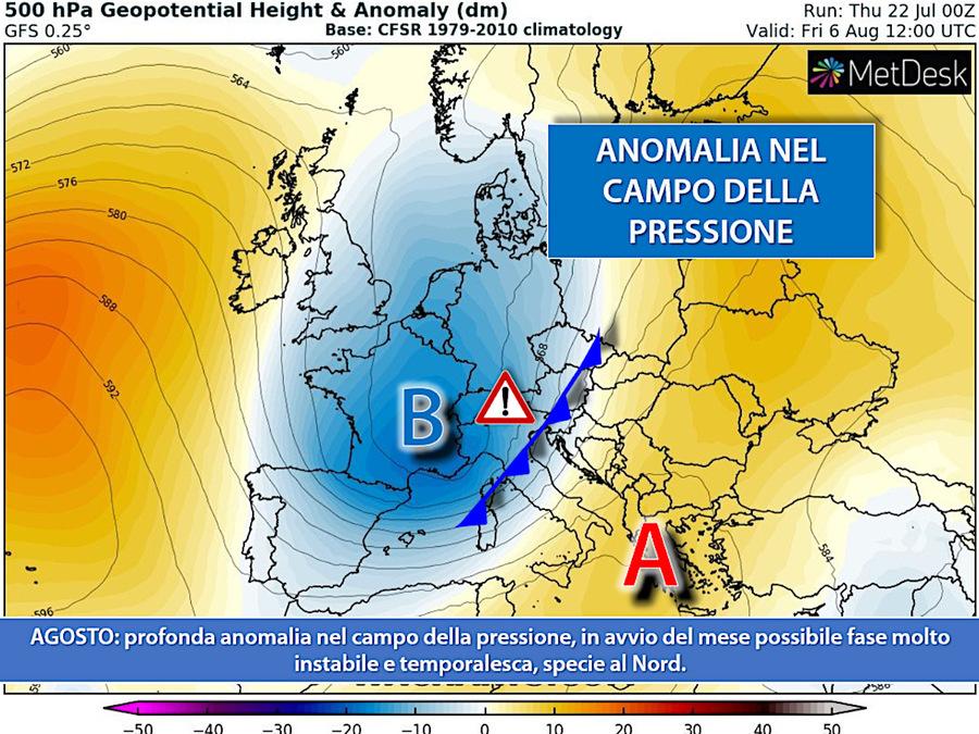 Mappa delle anomalie nel campo Pressione. Ad inizio agosto a rischio instabilità e temporali