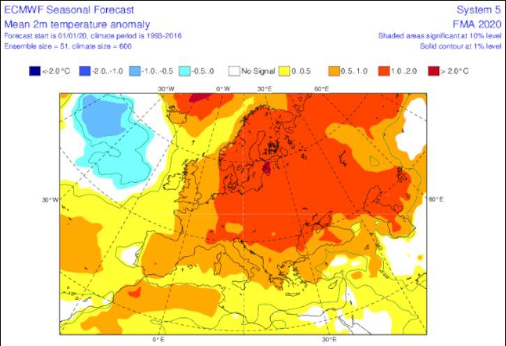 Anomalie di temperatura a febbraio comprese tra 0,5 e 1°C