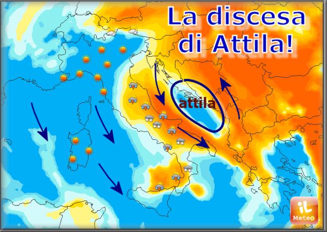Attila: sciabolata artica, venti impetuosi e 10° in meno!
