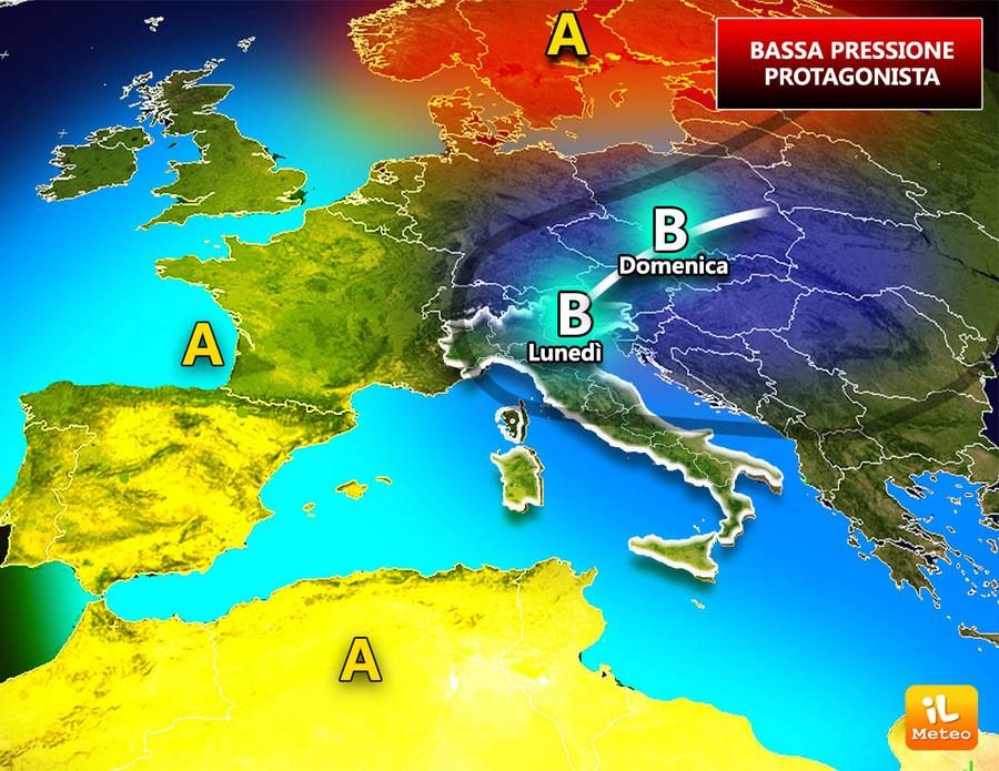 Bassa pressione protagonista del tempo sull'Italia; ecco perché