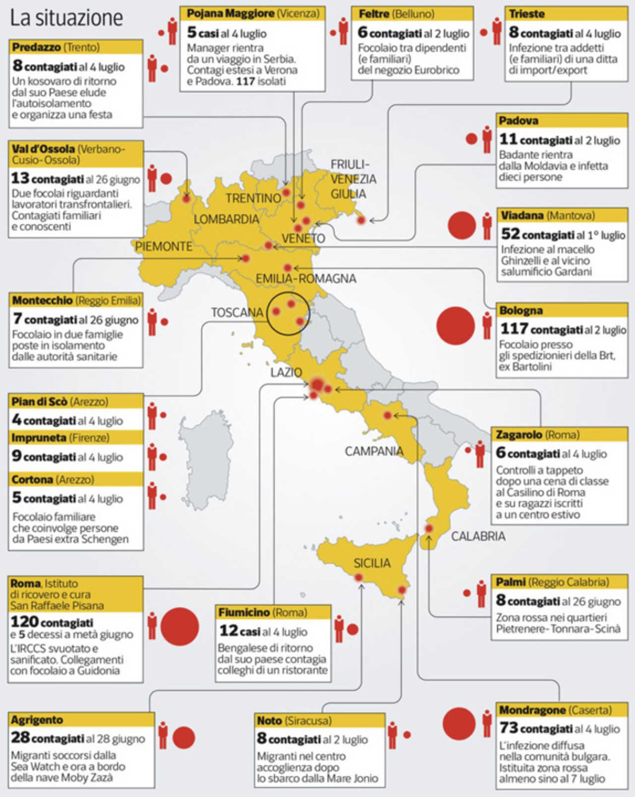 Coronavirus Focolai In Italia Ecco La Mappa Aggiornata Regione Per Regione Ilmeteo It