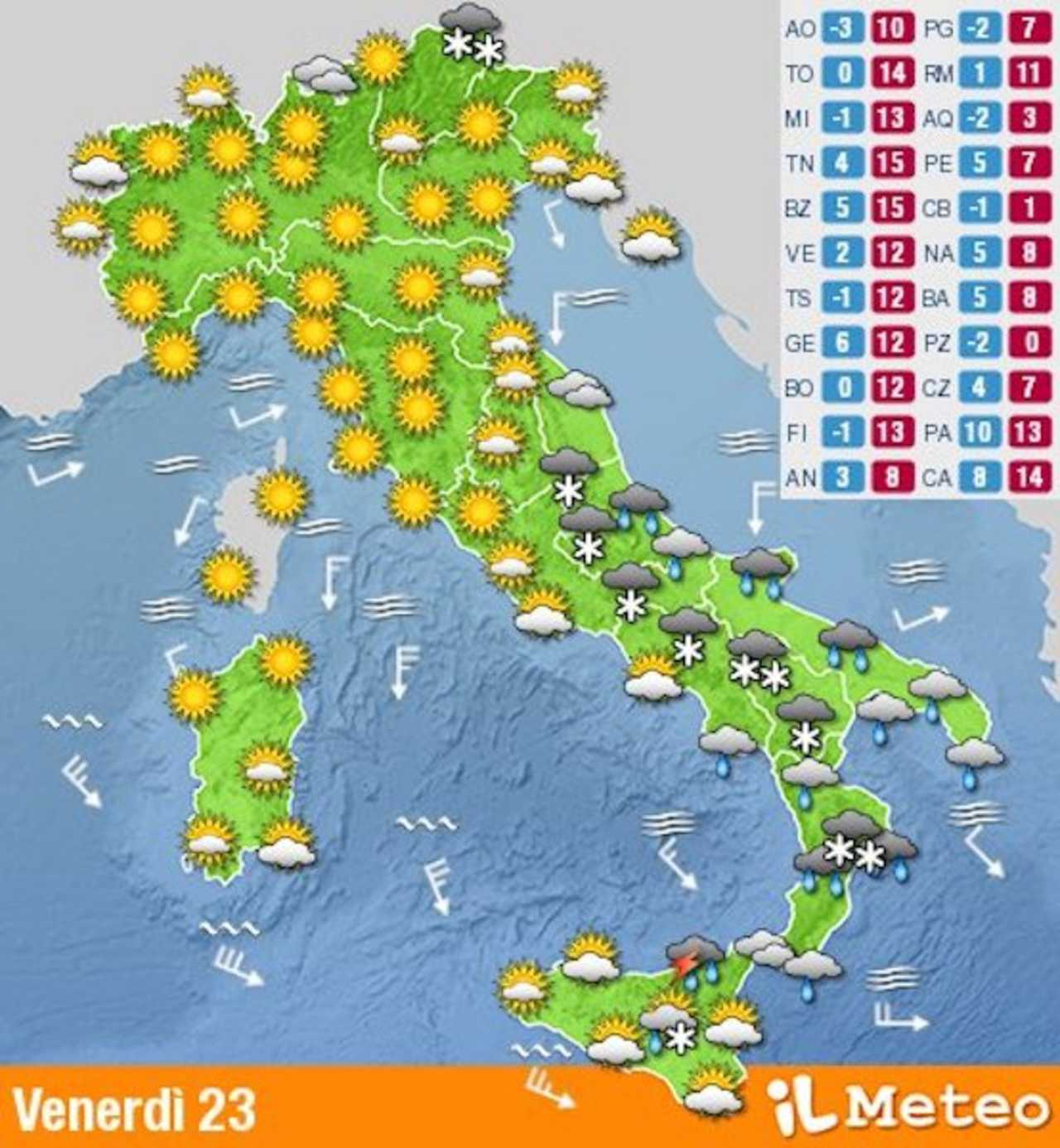 METEO: OGGI Temporali e NEVE al Sud Italia e sull'Abruzzo, il ...