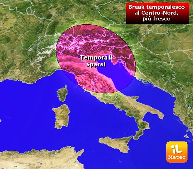 Zone interessate dai temporali sparsi