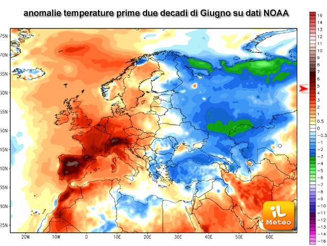 Anomalie termiche su Europa, per le prime due decadi del mese di Giugno 2017