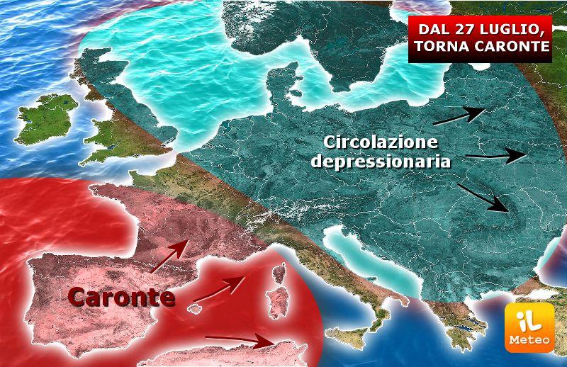 Caronte in avanzamento verso l'Italia a partire dal 27 Luglio