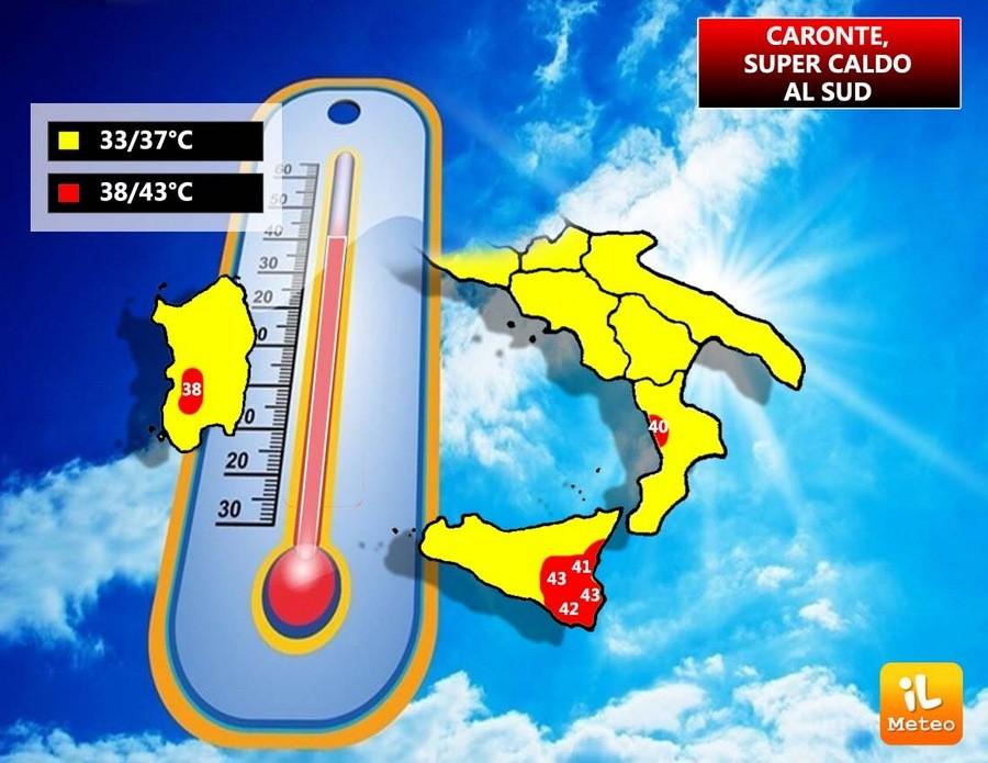 Sicilia e Puglia con valori superiori ai 40°