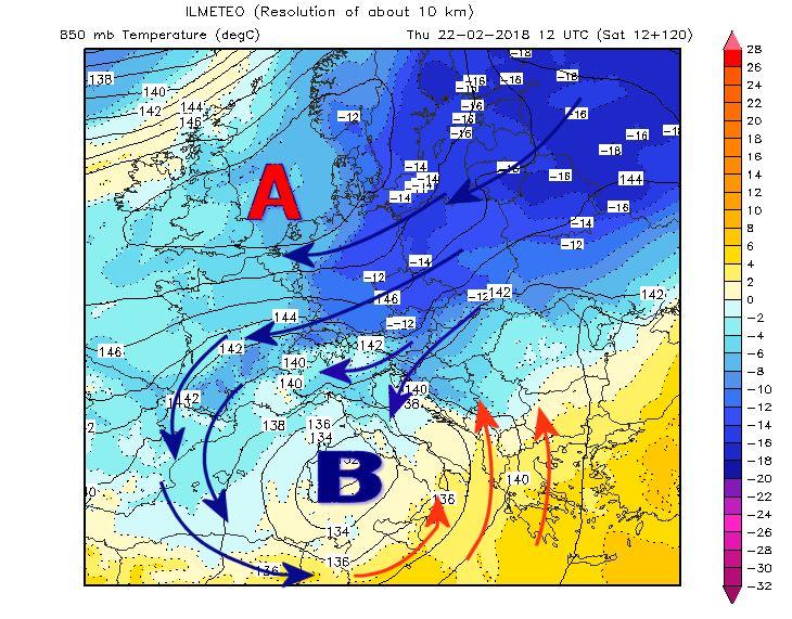Ciclone mediterraneo atteso il 22 Febbraio