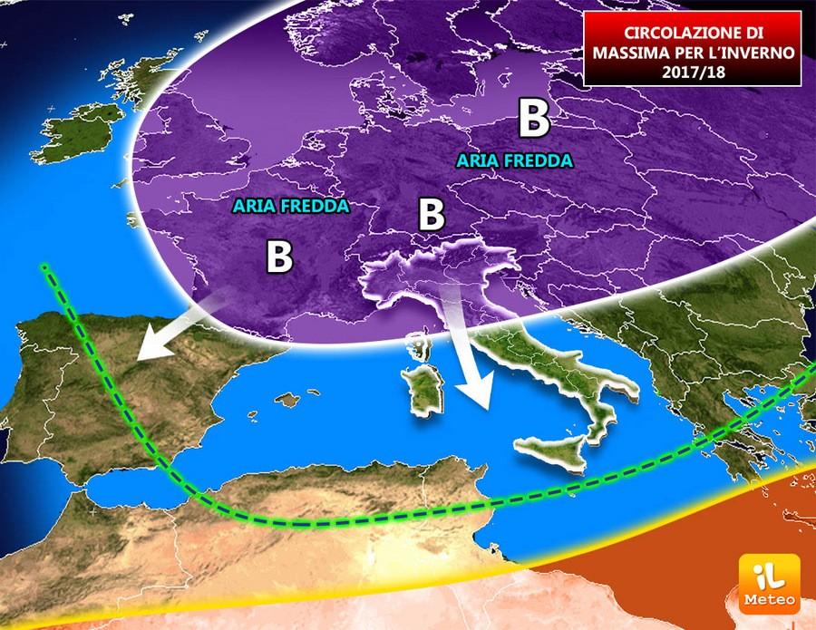 Possibile circolazione barica media per l'inverno 2017/2018