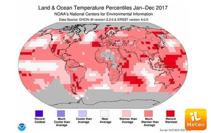 Temperature globali del 2017: tutte sopra la media su gran parte del pianeta Terra