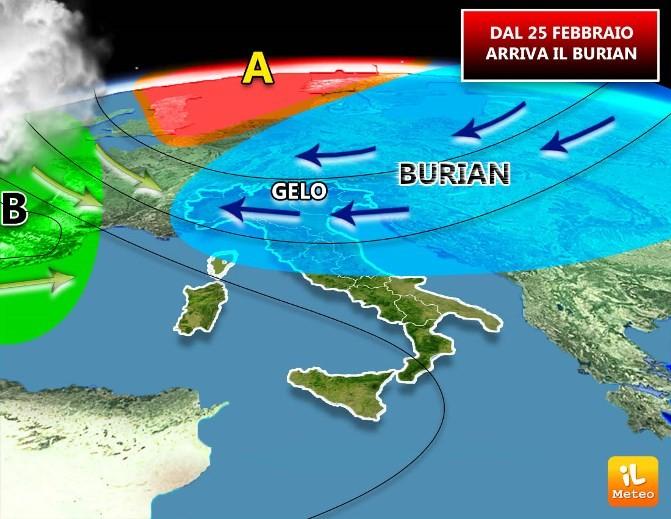 Il Burian si prepara ad invadere l'Italia