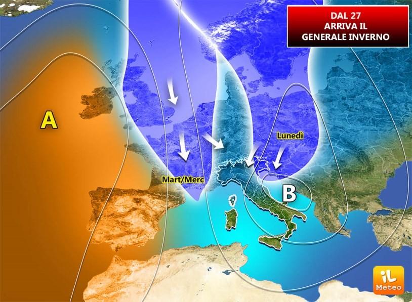 Due ingressi distinti per l'arrivo dell'aria fredda